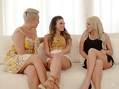 First lesbian experience with stepmom Ryan Keely and her best collaborate Christie Stevens