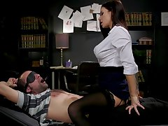 Sex-starved librarian Gia DiMarco ties close by and fucks one submissive dude